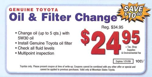 Oil Change Coupons >> Toyota Oil Change Coupon 2016 Coupons Database 2017
